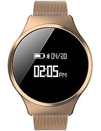 Hombre Casual Moda Inteligente Watch, Podómetro Ritmo cardíaco y monitor de sueño Led Impermeable Botón grande, Pulsera de bluetooth-C