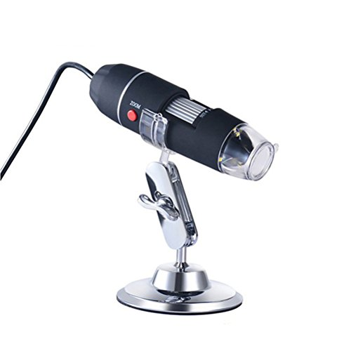 UEETEK Microscopio electrónico USB portátil 40X-1000X Microscopio electrónico con 8 LED luz y soporte de plata