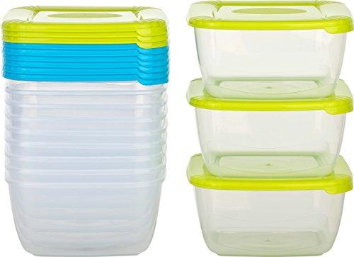 Kigima Tiefkühldose Frischhaltedose 900ml quadratisch 12er Set Blau/Grün