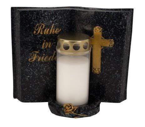 Formano Grabschmuck Grabbuch mit Grablicht und Aufschrift Ruhe in Frieden Grabdekoration Trauerschmuck Gedenkstein Grabstein Wetterfest