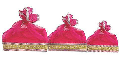 line n curves Satin Decorative Baby Shower Item Room Trousseau Gift Basket Hamper, Standard, Rani Pink -Combo Set of 3 Pieces