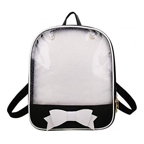Ita Bag Rucksack Mädchen Süß Candy Leder Tasche Geldbörse Schultasche Sommer Strandtasche Geldbörse mit Bowknot Transparente Fenster für DIY Dekore Schwarz/Weiß