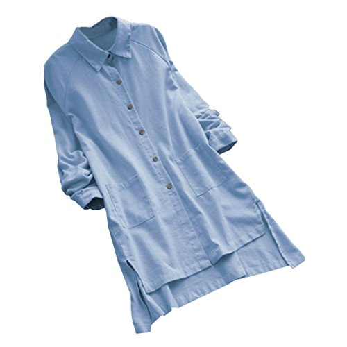 Longues Chemisier Femme,Plus Size Lâche Manches Longues Grand Taille Bouton de Poche Casual Hauts Robe Bringbring