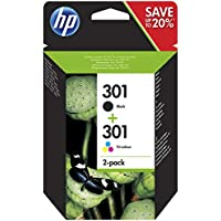 HP N9J72AE 301 Original Ink Cartridges, Black and Tri-Colour, Pack of 2