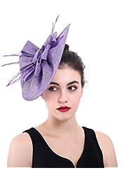 CJJC Novia De La Vendimia Sombrero De La Boda De Las Mujeres De Tela De  Plumas Púrpura Accesorios para El Cabello Bowler Hat Party… f32856c72d1