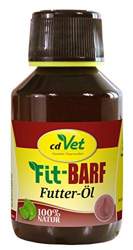 cdVet Naturprodukte Fit-Barf Futter-Öl 100 ml - Hund&Katze -Leinöl - Versorgung mit essentiellen Fettsäuren - hochwertige Pflanzenöle - kaltgepresst - Energiespender - Rohfütterung - BARFEN -