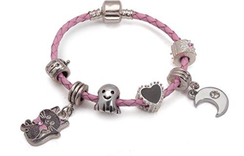 r Lucky Black Cat Halloween Ghost Pink Leder Charm Armband. Mädchen Party Geschenk (weitere Größen erhältlich) ()
