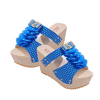 LvYuan Sandali-Casual-Comoda-Piatto-Tessuto-Multicolore Light Blue