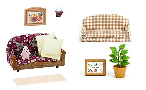 2conjuntos de muebles Sylvanian Families-Relajación-Silla de exterior reclinable y sofá