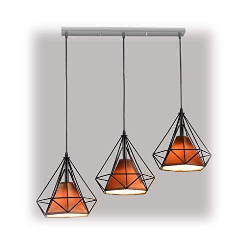 Beleuchtung Polygon Loft Art Deco Vintage Draht Anhänger Küche Kronleuchter, Vintage Retro Industrie LOFT Metall Decke CAGE Light Pendelleuchte Schatten (Farbe: Multi-Colored-Long Plate) -