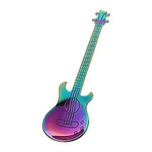 Huijun acciaio inossidabile arcobaleno a forma di chitarra caffè miscelazione Spoon Cold drink tea Spoon 12cmx3cm/4.72inx1.18in Colorato