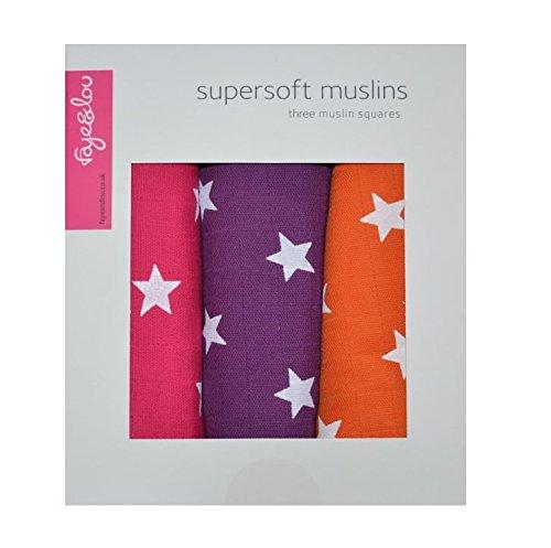 Faye und Lou Super Soft Musselin Quadrate, Rosa/Violett/Orange, Sterne (Quadrat-stern)