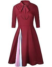 Vestiti Lungo Donna Elegante LandFox Sexy Vestito da Sera da Donna con  Maniche Corte e Maniche Lunghe da Donna… 115b1637cbc