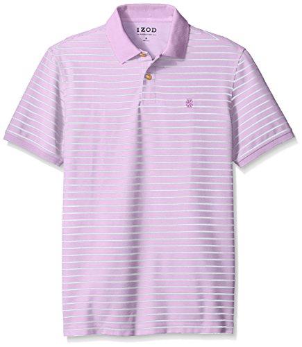 IZOD Men's Advantage Performance Stripe Polo, Sheer Lilac, Large (Shirt Sheer Stripe)