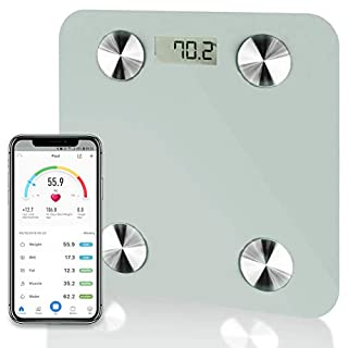 Futura White Smart Precision Bluetooth Bathroom Scales iOS & Android, Weighing Scales, Body Fat Digital Scales, 28st/180kg/400lb Backlight Display, Slim Design, Elegant Black Measuring Tape Included