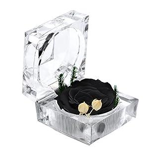 A-szcxtop erhalten Frische Blume nie ausgetrocknet Blume Last A Lifetime Eternal Life Blumen mit Kristall Ring Box, Geschenk für Valentinstag und Hochzeit schwarz