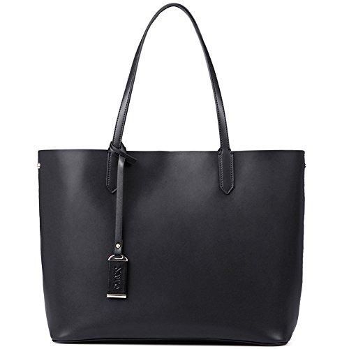 NAWO Designer Handtaschen Leder Schultertasche Shopper Umhängetasche Tote Bag Taschen für Damen Weinrot 1-Schwarz