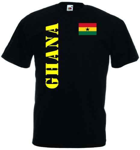 world-of-shirt Herren T-Shirt Ghana Trikot Fan Shirt|schwarz L
