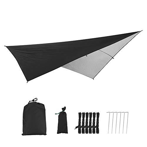 SJAPEX Camping Zeltplane Sonnenschutz, Sonnensegel Tarp für Hängematte, Wasserdicht Leicht Kompakt Zeltunterlage Picknickdecke Tarp, Hammock Plane Tent Tarp Camping Outdoor Plane