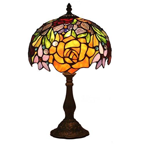 FABAKIRA Tiffany Nachttischlampe Braunglas Tischlampe Kreativer Schreibtisch Dekorative Buntglas 10 Zoll