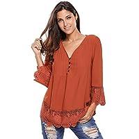 Dark Orange Lace Detailed Sleeved Blouse