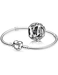 Original Pandora regalo Set–1Plata Pulsera con Corazón cierre 590719y 1Plata Charm Vintage a 791845CZ