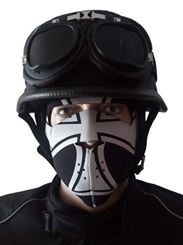 CHEYENNE Oldtimer Motorradhelm mit Fliegerbrille u. Maske Eisernes Kreuz Wehrmachtshelm Schwarz matt (M)