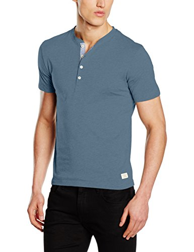 SELECTED HOMME Herren T-Shirt Shhniklas SS Split Neck NOOS, Blau (Blue Mirage), X-Large (Solid-jersey-henley)
