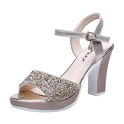 Zapatos de tacón Alto con Tacones Fino y Sandalias para Mujer Sandalias de Vestir de Boda de Fiesta...