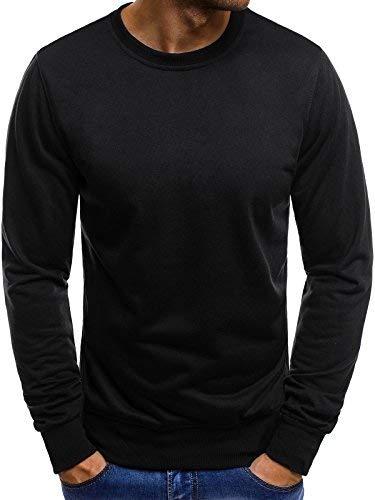 OZONEE Mix Herren Sport Fitness Training Crewneck Täglichen Modern Longsleeve Sweatshirt Langarmshirt Sweats Basic Figurbtont Slim-fit 05B SCHWARZ L