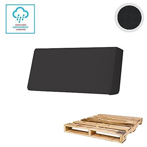 Arketicom Pallett-One CHEOPE Dossier-Coussin Treillage Sofa OUTDOOR Palettes Euro Hydrofuge et Déhoussable en Différentes Couleurs contemporaine 120x30x15 016 Nero