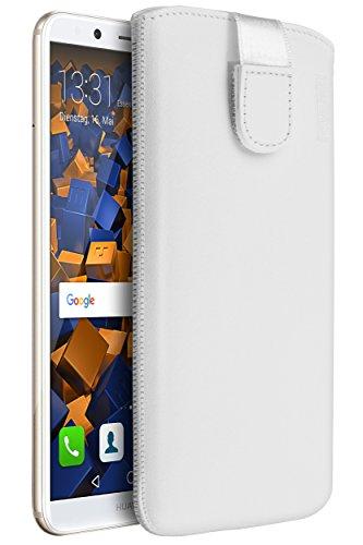 mumbi ECHT Ledertasche für Huawei Mate 10 Lite Tasche Leder Etui weiss (Lasche mit Rückzugfunktion Ausziehhilfe)