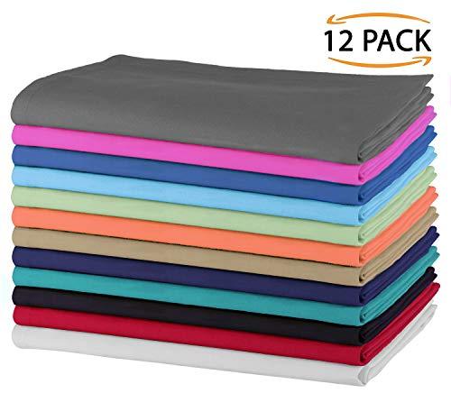 SweetNeedle - Packung mit 12 - 100% Baumwolle Übergroße Servietten 50 cm x 50 cm (20 Zoll x 20 Zoll), Mehrfachfarben -...