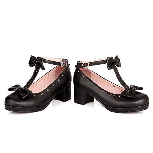 Correct VogueZone009 Couleur Unie Talon Noir Femme Souple à Matière Chaussures Légeres Aq7rwXA