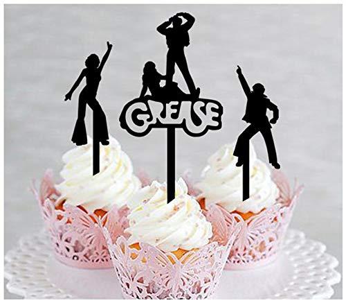 Dekoration, Cupcake-Topper, Hochzeit, Geburtstag, Party, Fett, Motto-Party, Disco-Silhouette, 10 Stück