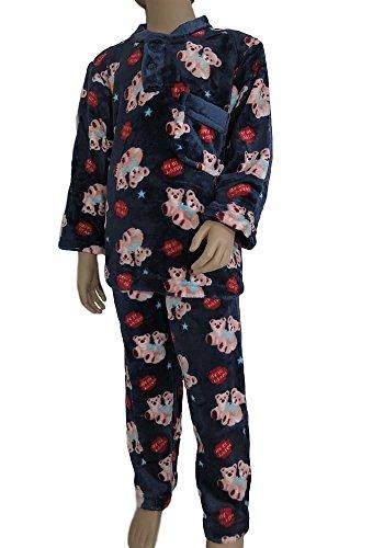 Pyjama pilou enfant (Ref: Happy bearⒸ) (14 ans, Bleu Marine)
