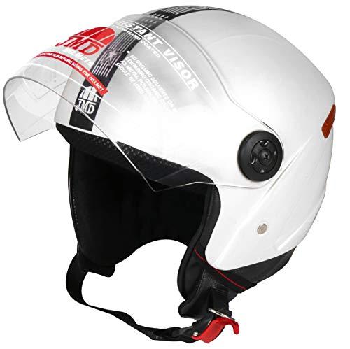 JMD HELMETS Grand Open Face Helmet (White, Large)