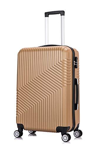 Frentree Hartschalen-Koffer 02 | Trolley Reisekoffer Handgepäck mit 4 Rollen M-L-XL-Set zum Auswahl, Koffer Standard Farbe:Gold, Koffer Standard Größe:L(66CM)