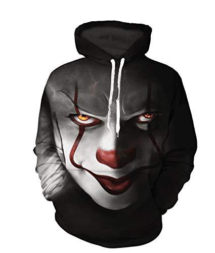 VISTANIA Xmas Männer Und Frauen Liebhaber Verlieren Big Size Street-Style Clown-Muster Kapuzenpullover-Hoodies Pullovers Sweaters Baseball-Kleidung,XL