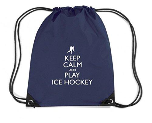 T-Shirtshock - Zaino Zainetto Budget Gymsac SP0098 Keep Calm and Play Ice Hockey Maglietta, Taglia Capacita 11 litri