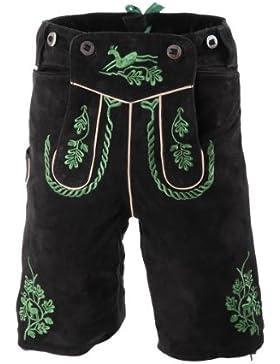 Kurze Lederhose Adi, 20031 schwarz, grün bestickt