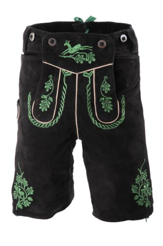 Kurze Lederhose Adi, 20031 schwarz, grün bestickt 44