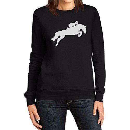 Pferdemotiv Springreiten Damen Pulli Frauen Sweatshirt Small Schwarz