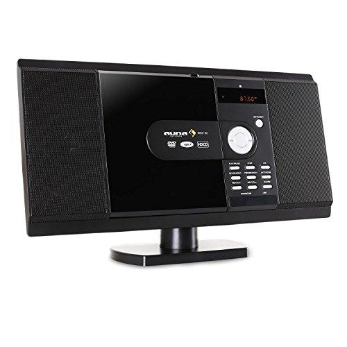 Auna MCD-82 minicadena (reproductor estéreo de CD, MP3, USB, con ranura para tarjetas SD, radio FM, diseño vertical, entrada auxiliar, apto para montaje en pared) - negro