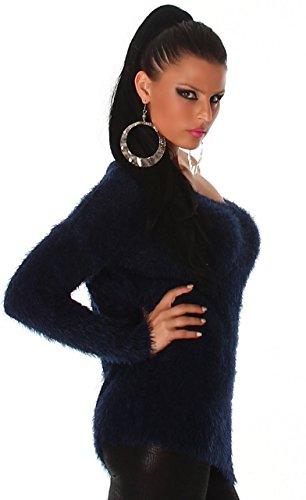 Jela London - Pull femme doux et duveteux Bleu - Bleu marine