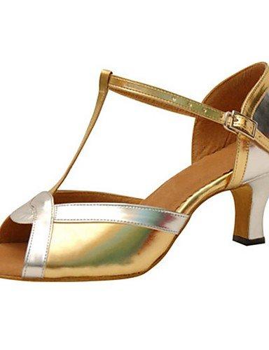 La mode moderne Sandales femmes personnalisables en cuir chaussures de danse latine en cuir sandales talon évasé or débutant pratique US9.5-10/EU41/UK7.5-8/CN42