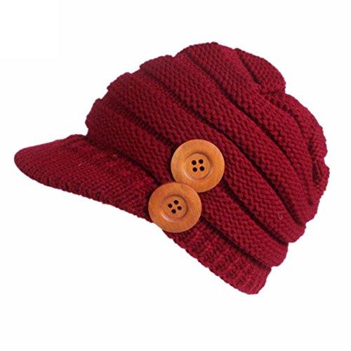 Damen Winter Strickmütze, SHOBDW Frauen Winter Strickmütze Barette Turban Krempe Hut Cap Pile Cap (Rot-1)
