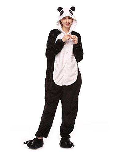 SWISSWELL Unisex Erwachsene Onesie Kostüm Jumpsuit Schlafanzug,Hausanzug,Jogginganzug,Tier Cosplay kostüm,Schlafanzug Hoodie Onesie Nachtwäsche Pyjamas Tieroutfit mit Kapuze Panda L