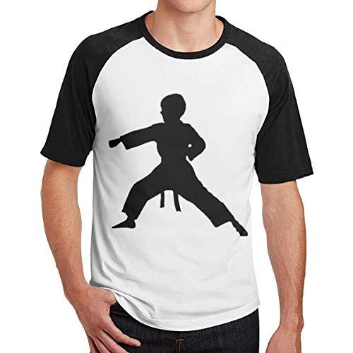 Sporsy Kurzarmshirt Hemden Men Karate Boy Comfort Raglan Shirt Combed Cotton Tee T-Shirt Top (Karate Kid T-stücke)