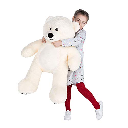 VERCART Orsacchiotto di Peluche Gigante XXL Orso Bambola Morbida Regalo di Compleanno Fidanzata Natale Adulto Bambina Bianco 92cm